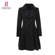Women Wool Coats 2016 Winter Black Double Breasted Belt Bubblekiss