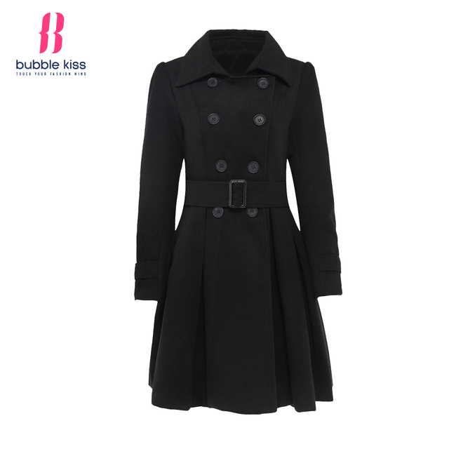 Women Wool Coats 2016 Winter Black Double Breasted Belt Bubblekiss