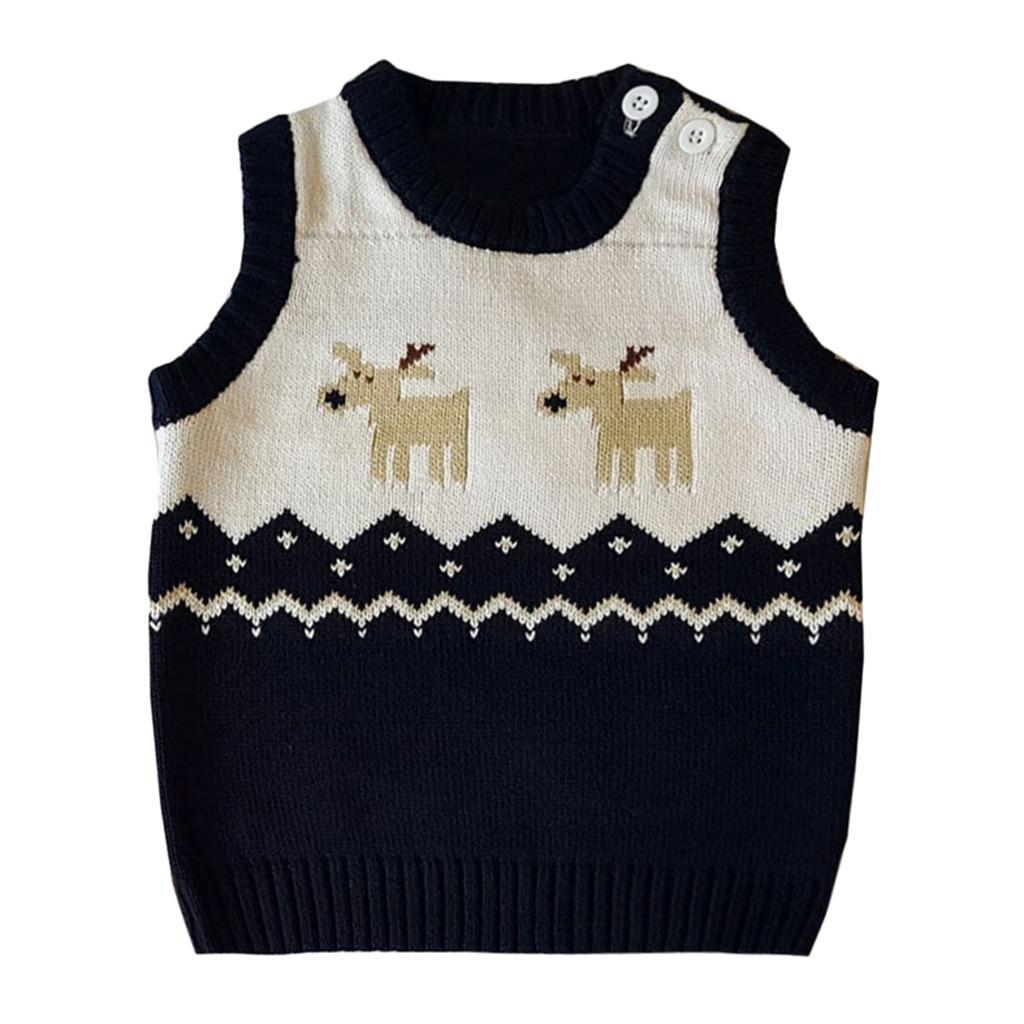 Arloneet Weihnachten Baby Stricken Baumwolle Winter Warme Weste Neue Jahr Kleinkind Kinder Mädchen Jungen Winter Deer Pullover Gestrickte Warme Weste Z1121