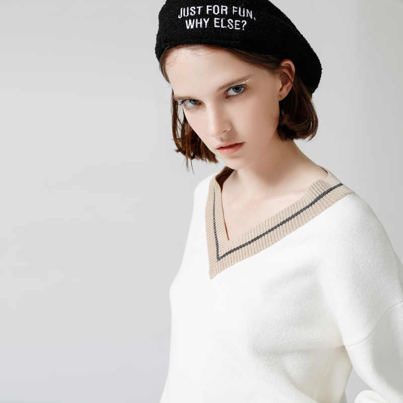 Toyouth cuello en V que hace punto el suéter de invierno de las mujeres de moda de manga abajo suéter femenino nuevo 2019 Otoño Invierno Casual Jersey camisetas