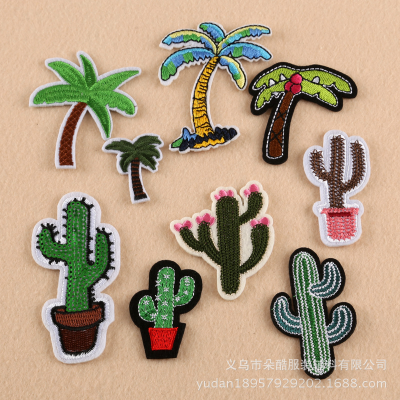 100 Pcs/lot Most Free Shipping Sticker Patches Coconut Tree Cactus Plant Clothing Apparel Sewing Fabric Accessories Art DIY