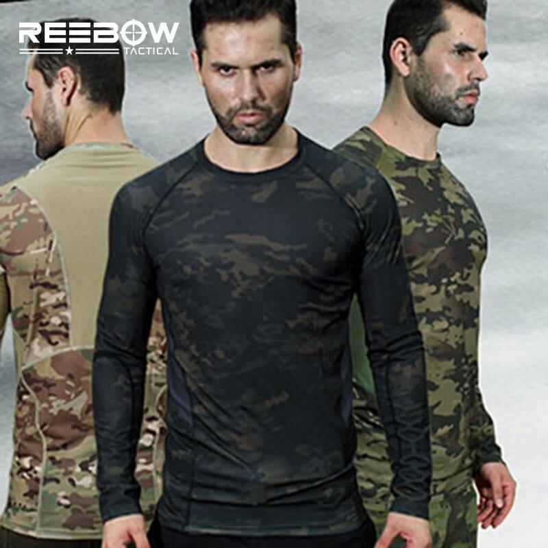 Camouflage extérieur à manches longues t-shirt hommes militaire tactique t-shirts printemps été Jogging course Sports chasse Airsoft
