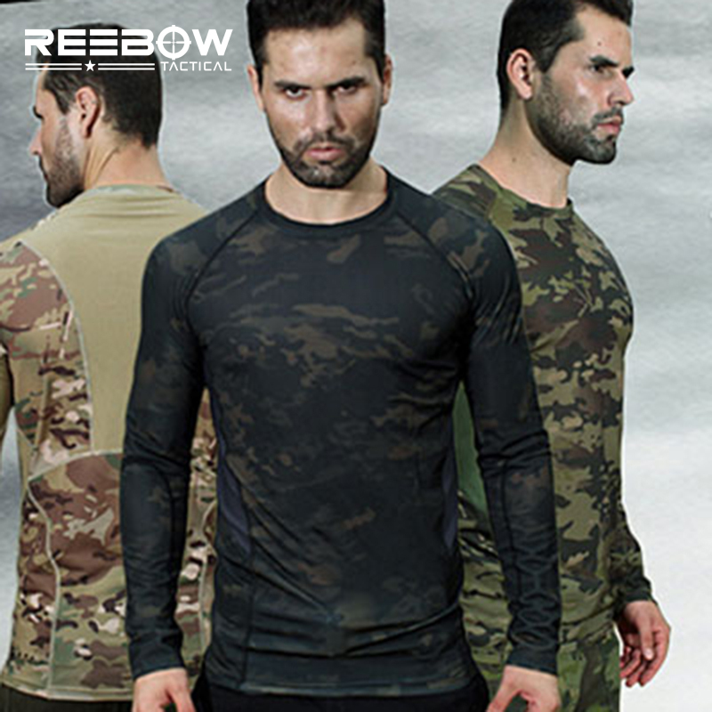 Outdoor Camouflage Long Sleeve T Shirt Men Military Tactical Tee Shirts Spring Summer Jogging Running Sports Hunting Airsoft