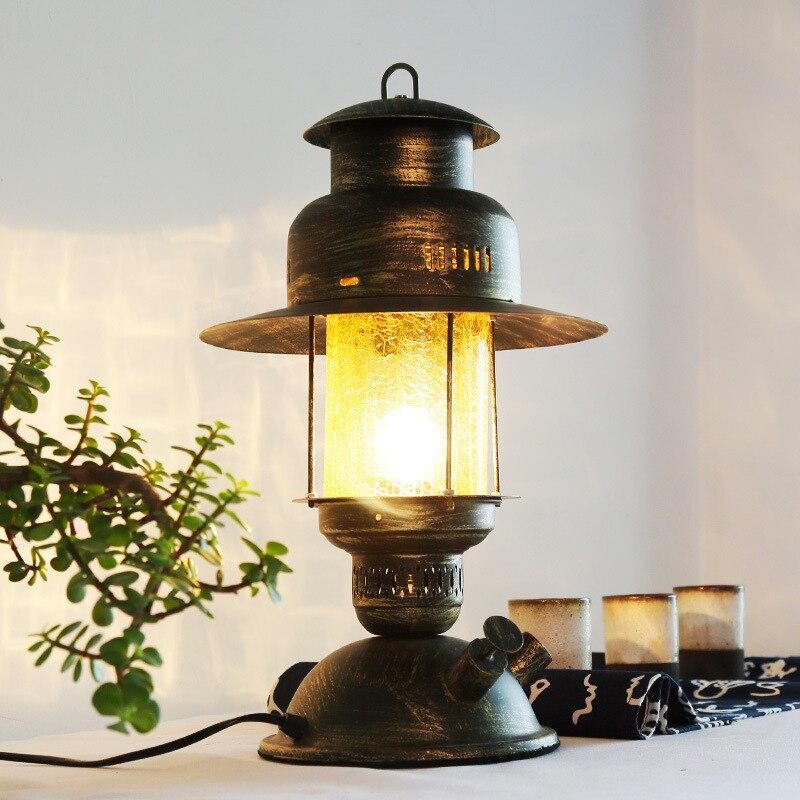 Американский настольные лампы для лампы ретро гостиная кованого железа настольная лампа Творческий Античная страна вилла спальня ночники