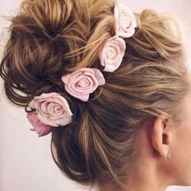 SLLIOOUS Girls Flower Headband Rose Floral Headbands Girls Kids Boutique Elastic Flower Headwear Hair Bands Accessories