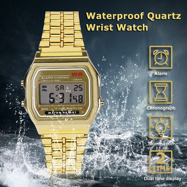 Men Sports Watches Military Quartz LED Digital Waterproof Quartz Wrist Watch Dress Golden WristWatch Women Men Watch Bracelet #H 3
