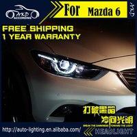 AKD Xe Styling Trụ Đèn cho Mazda 6 Đèn Pha 2017 Thiết Kế Mới Mazda 6 Atenza LED DRL H7 D2H Hid Tùy Chọn Mắt Thiên Thần Bi Xenon Chùm