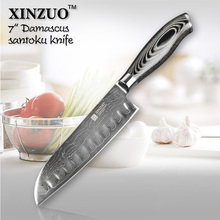 XINZUO HIGH QUALITY 7″ inch Japanese VG10 Damascus steel kitchen knives chef knives santoku knife with wood handle free shipping