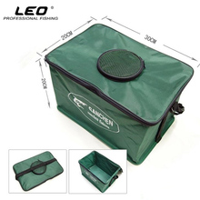Leo Portable Steel Frame Canvas Live Fish Tank Folding Fishing Bucket Breathable Fishing Tackle Box S M L Random Color