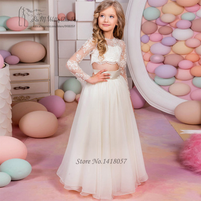 c142a82a55 Lace Cheap Holy Communion Dresses Long Sleeve 2 Piece Flower Girl Dress  Mother Daughter Gowns Girls Pageant Graduation Dresses