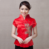 Red Vintage Embroidery Sequins Phenix Tops 2017 Women Fashion Shirt Ethnic Satin Short Sleeve Blouse S