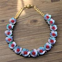 2015 New Woman Spring Blue Sequin Flowers Short Necklace Of Clavicle Spring Concert707