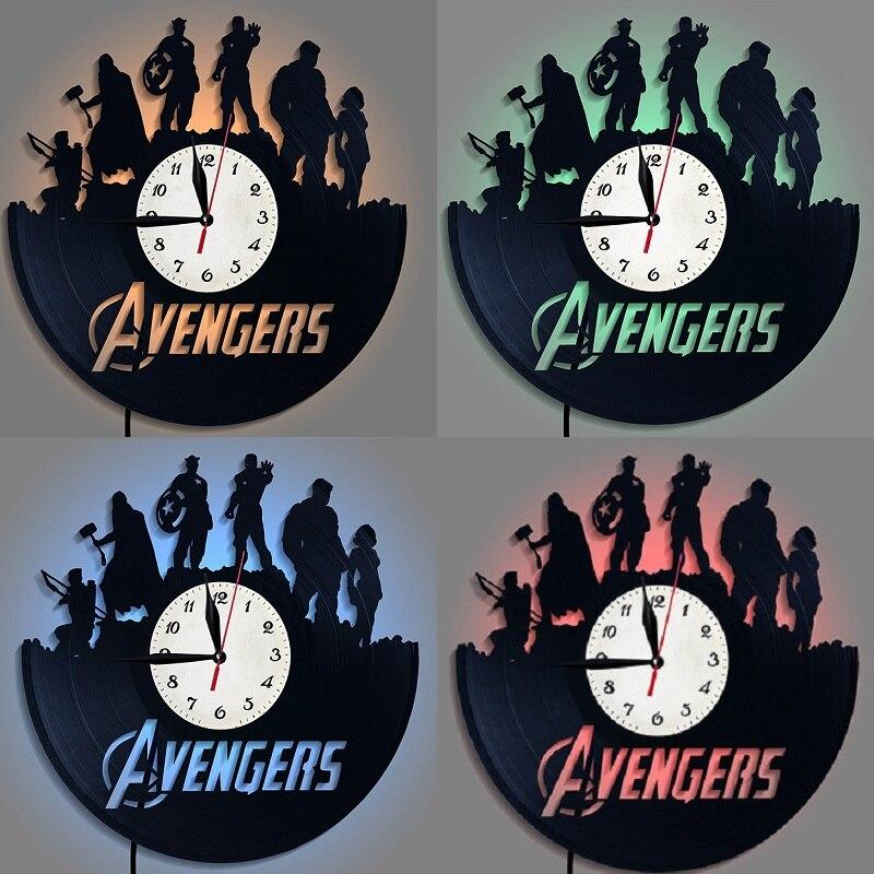 Mode créative 3D acrylique Record horloge Marvel Avengers super-héros thème Antique mur LED horloge chambre décor mur accrocher veilleuse