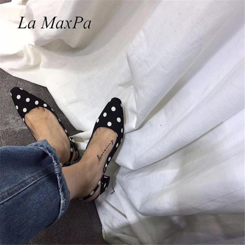 Women Fashion Sandals Summer Sweet Polka Dot Bow Shoes Women Brief Hasp Female Sandals Square Toe Breathable Shoes lastest women summer sweet sandals slipper fashion solid color suede flower bow hasp flat heel square toe sandals schuhe damen