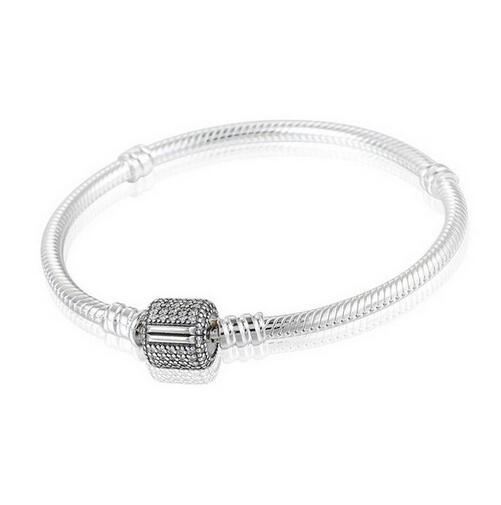 Femmes avec zircon cubique Micro Pave Clip fermoir 925 en argent Sterling serpent bracelets porte-bonheur convient aux perles de marque européenne YL015
