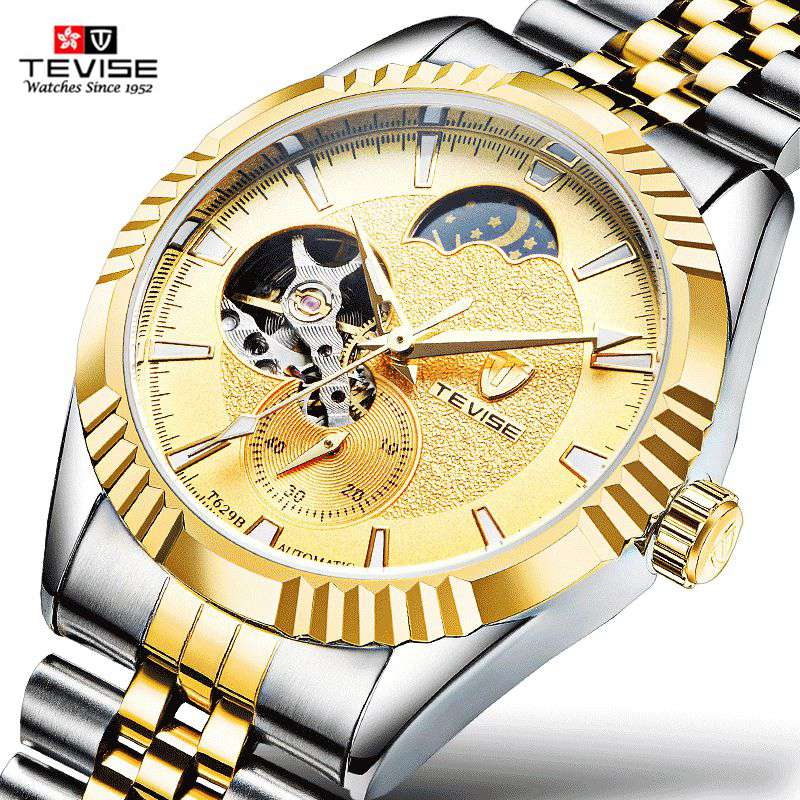 TEVISE Top Brand Watches Men New 2107 Luxury Famous Busiiness Skeleton Clock Male Automatic Mechanical Watch Relogio Masculino relogio masculino tevise luxury brand watch men tourbillon automatic mechanical watches moon phase skeleton wrist watch clock