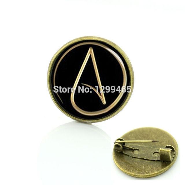 Atheism Movement Logo Badge Atheist Atom Symbol Metal Pin Steam Punk