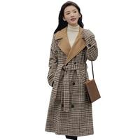 Korean wool winter coats for women 2018 new fashion lattice long Loose large size autumn coat women elegant woman coats NW662