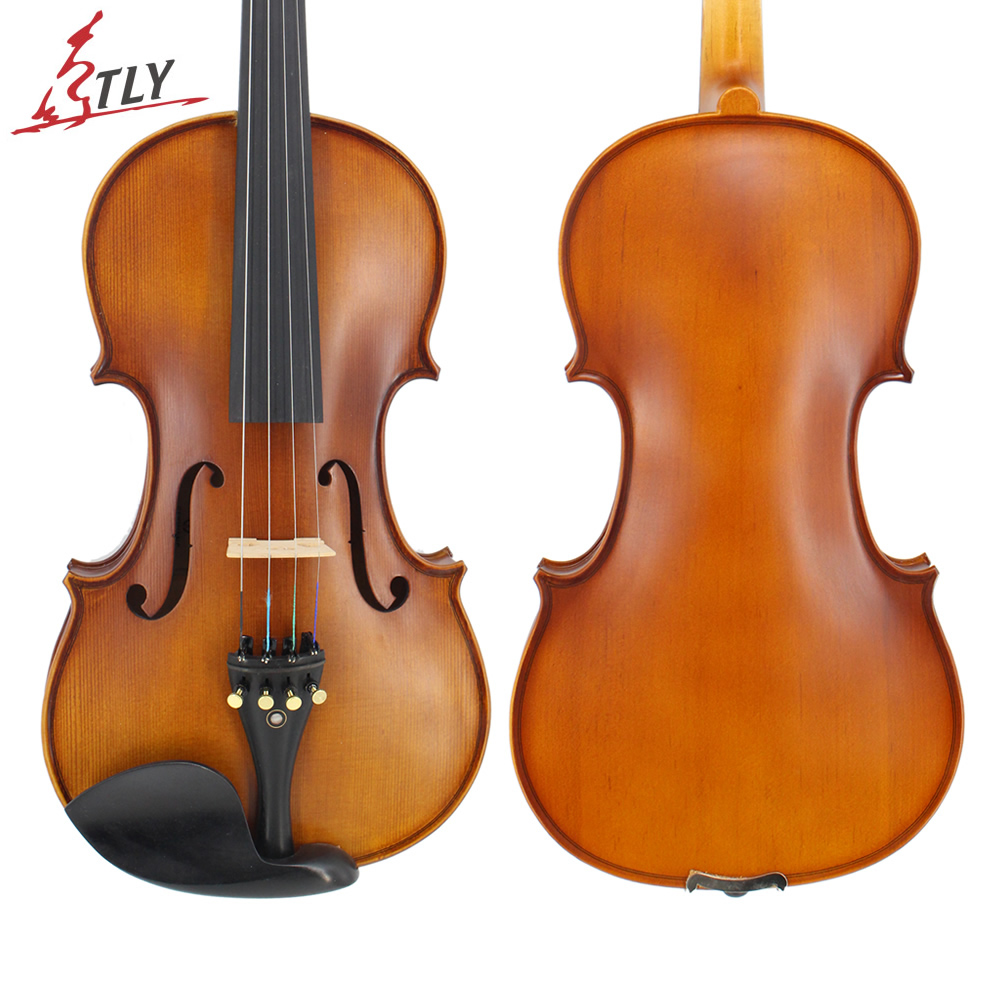 TONGLING Full Size 4/4 Advanced Violin Handcraft Matt Finished Spruce Face Maple Violin Ebony Parts w/ Rectangle Case Bow Rosin tongling brand natural flamed maple acoustic violin 4 4 3 4 antique matt violino full size musical instrument with accessories