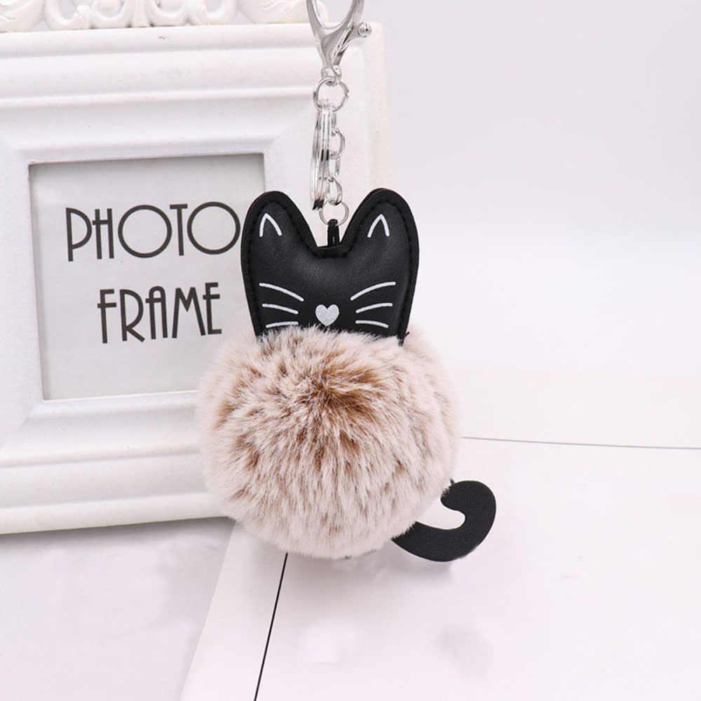 Помпон пушистый кот Сумочка с брелоком аксессуары из искусственного меха кролика Женская сумка кулон рюкзак унисекс мех Кот милый брелок драгоценный подарок