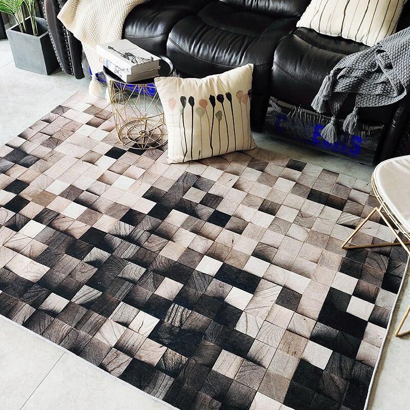 Ins nordique grain de bois géométrique dégradé salon tapis chambre chevet tapis étude tapis de sol antidérapant superfine fiber tapis
