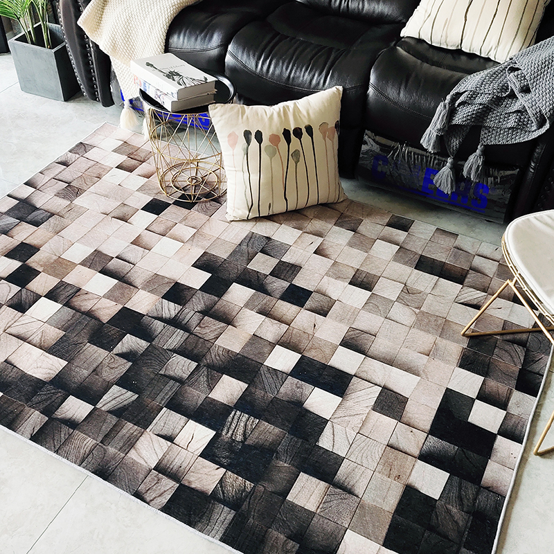 Ins nordic Wood grain geometric Gradient Living room carpet Bedroom bedside rug Study floor mat non-slip superfine fiber