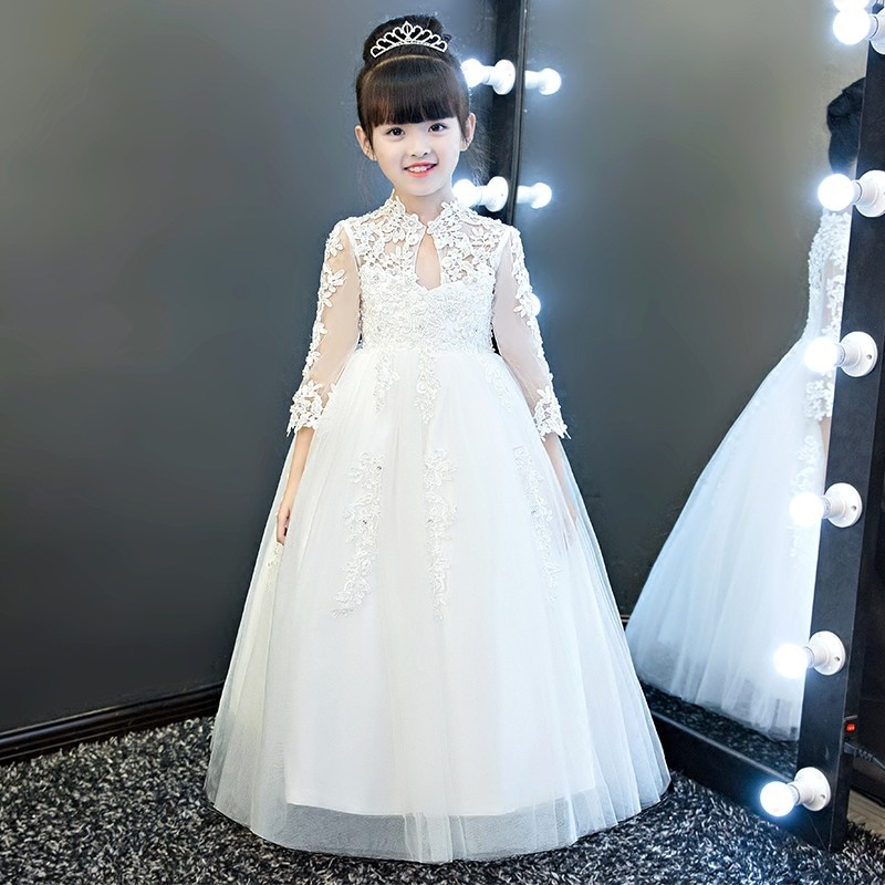 Glizt Girls White Wedding Dresses Long Sleeve Bead Appliques Lace Party Princess Birthday Dress First Communion