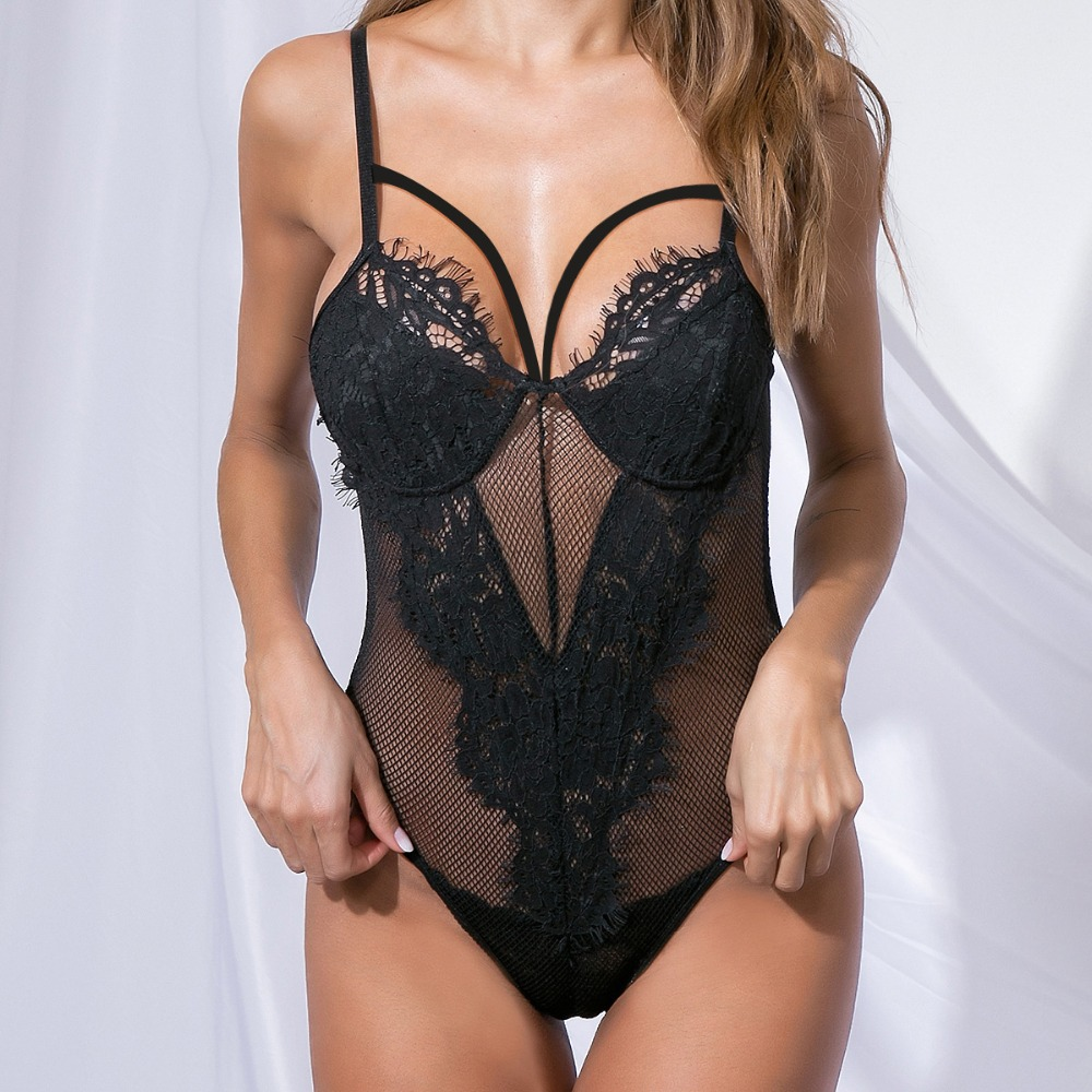 Fashion Fashion Lace Sexy Thin  One Piece Lingerie Clothes Lace Mesh Perspective Hollow Strappy Sleepwear Nightwear Bodysuit