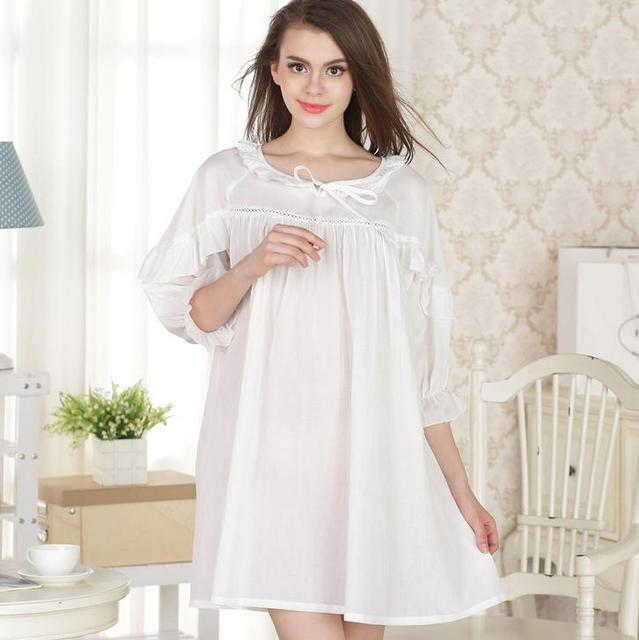 2016 Brand Sleep Lounge Women Sleepwear Cotton Nightgowns Sexy Long Robe Home Dress White Nightdress Plus Size AW299
