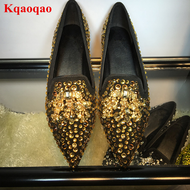 Pointed Toe Women Flats Gold Crystal Embellished Wedding Party Bride Star Runway Shoes Sapato Feminino Slip On Low Top Loafers summer slip ons 45 46 9 women shoes for dancing pointed toe flats ballet ladies loafers soft sole low top gold silver black pink