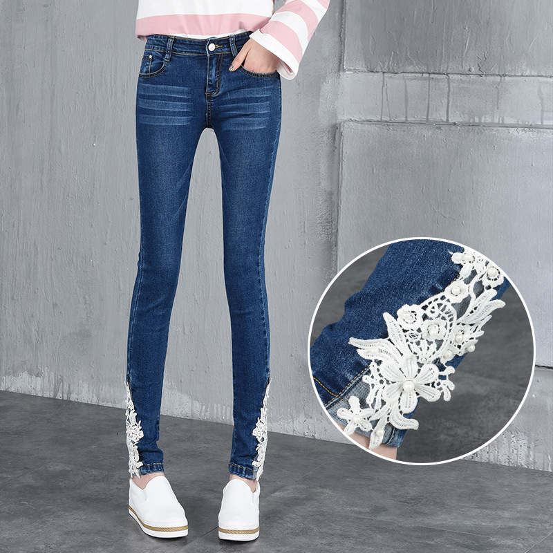 Fashion Lace Jeans Pants For Women Curvy Pencil Stretch Denim Skinny Jeans With Lace Bottom Denim Slim Long Push Up Jeans Youth image