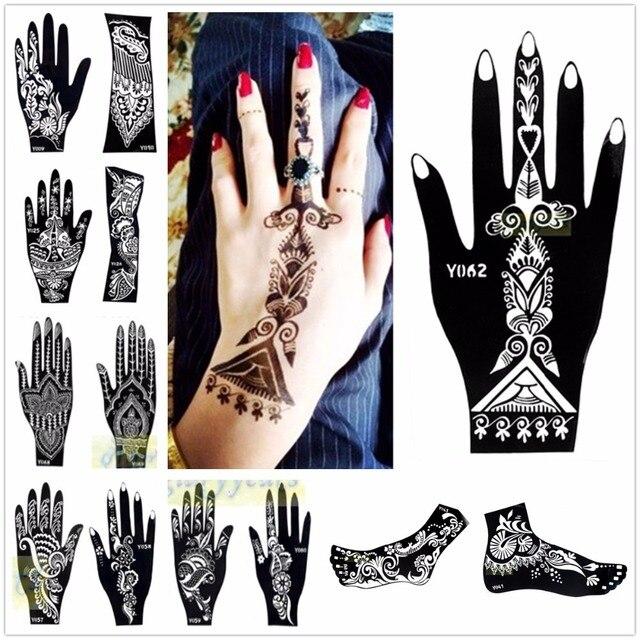 Temporary Tattoo Stencils Henna: Aliexpress.com : Buy 1pc Large Mehndi Henna Glitter