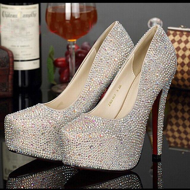 d0a9467d00 Prata branco Champanhe Cor de Ouro de Salto Alto Sapatos Lindos Sapatos de  Casamento Strass Sapatos