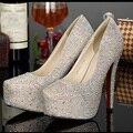 Super de salto alto sapatos de festa de aniversário de casamento lindo strass sapatos de prata de ouro Champagne cor