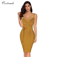 Ocstrade Bandage Dress 2017 Summer New Sexy Deep V Neck Ginger Tie Waist Bandage Dress Wholesale