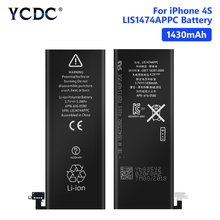 YCDC Lithium Real capacity 3.7V 1430mAh Battery For Rechargeable Phone Bateria iPhone 4S 4GS iPhone4S Batteries Free Tools