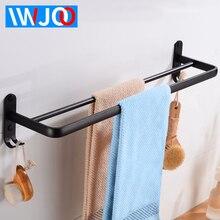 Towel Bar Black Double Bathroom Holder Hooks Aluminum Rack Hanging Wall Mounted Decorative Robe Rail Hanger