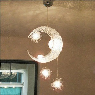 LED start moon creative pendant lamps bedroom lights modern simple children room restaurant lights balcony lighting lights CL hghomeart kids led pendant lights basketball academy lights cartoon children s room bedroom lamps lighting