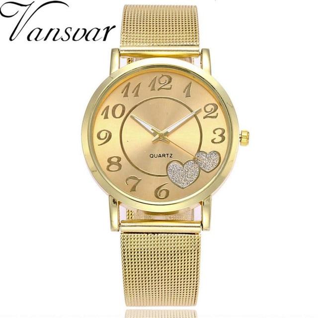 Reloj de pulsera de mujer vansvar reloj de pulsera de oro inoxidable de marca superior de lujo para mujer reloj de pulsera de moda Retro Montre Femme 2018