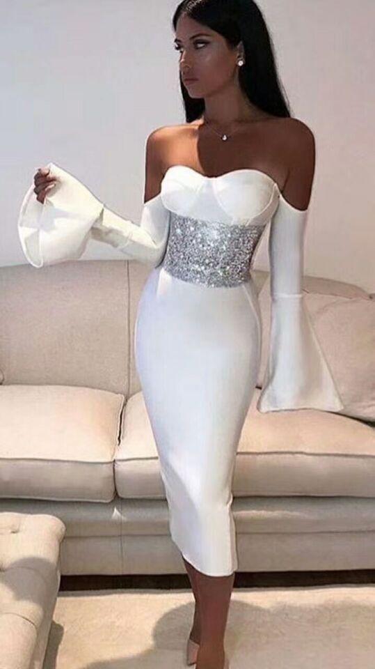 Hiver Slash cou bretelles volants à manches longues Bandage robe avec cristal taille dos fente célébrité fête d'anniversaire robe A-20