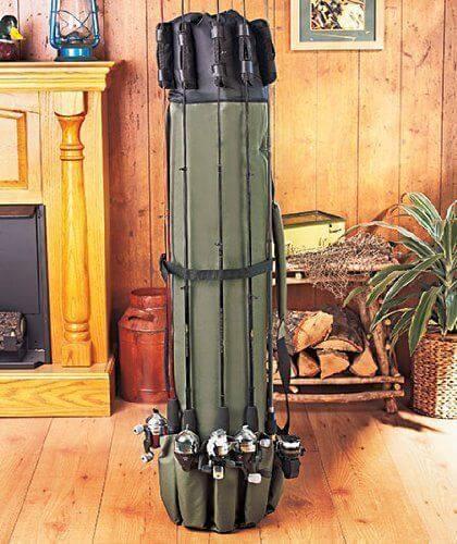 Waterproof Fishing 5 Rod Shoulder Bag Pole Equipment Case Organizer Tackle Box Canvas 49 inch Saltwater