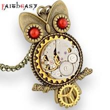 Faitheasy Vintage Steampunk Gear Owl Statement Necklace Women Men Pendant Punk Retro Jewelry Long Necklace Clothing Chain