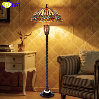 FUMAT Tiffany Floor Lamps European Style American Vintage Baroque Stand Floor Light LED Living Room Home Decor Floor Lights