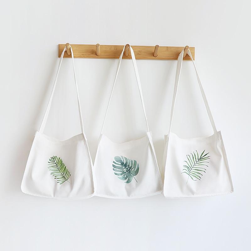 NEW Magnetic Snap Cotton Canvas Eco Shoulder Bag Cross Body Messenger Print Green Leaf A-363