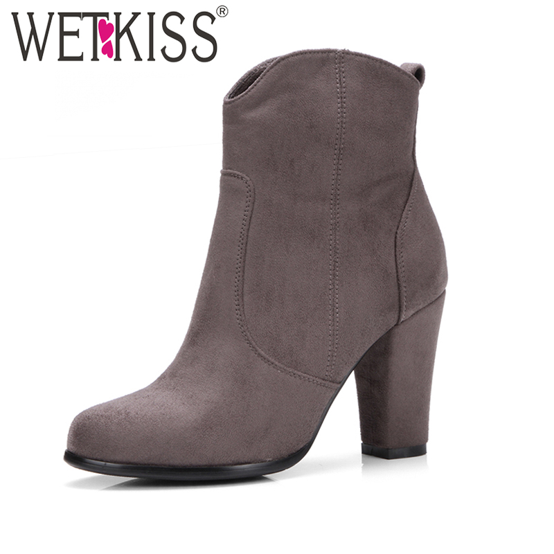 WETKISS 2017 New Arrival Ladies Ankle Boots Women Flock Side Zipper High Heels Boot Female Round