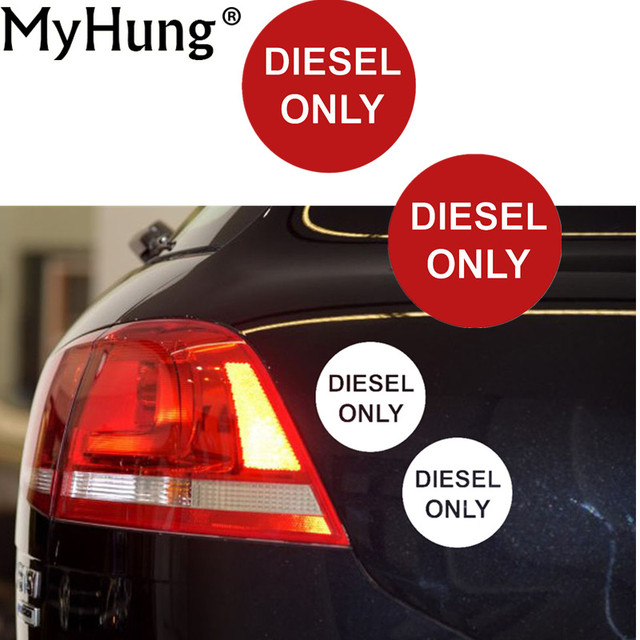 Newest car stickers diesel only 50mm stickers car or van round fuel reminder warning decals sticker