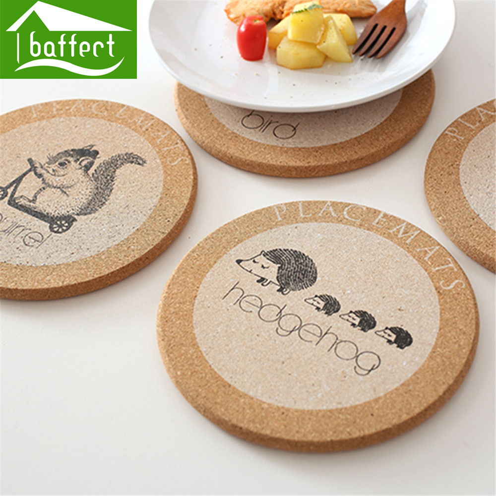 online buy wholesale wooden drink coasters from china wooden drink  - new arrival cute cork wooden drink coasters pot holder japan style flexibletable heat resistant round