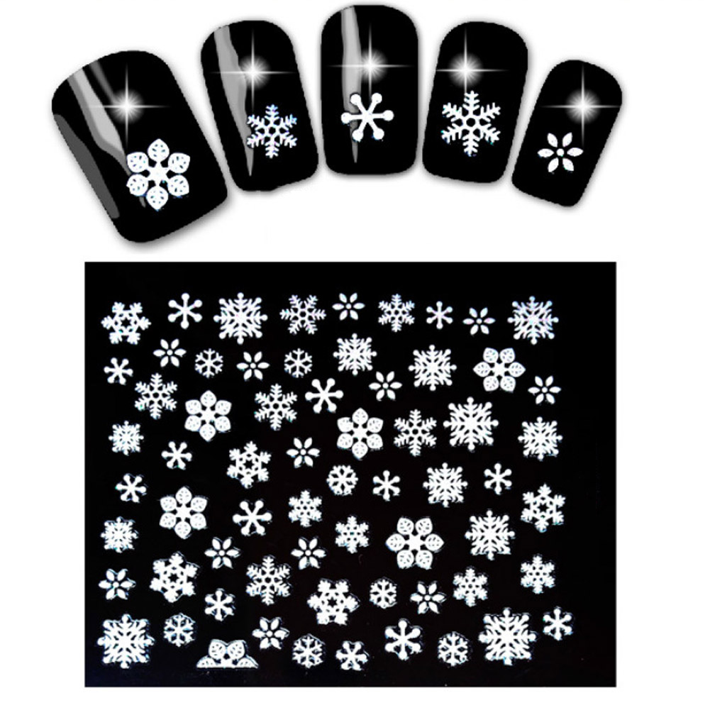 Stickers decals nail stickers nail art decals fashion - Fashion 1sheet Water Transfer Nail Art Decals 3d Snowflake Angel Nail Stickers Nail Art Decorations Winter