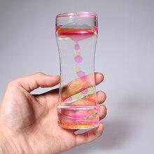 1pcs Fun Classic Toy Fidget Timer Acrylic Hourglass Liquid Oil Motion Bubble Tumbler Gravity Sensory Toys Ornament Desk oyuncak