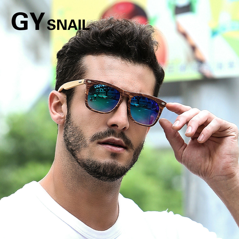 GYsnail Brand Designer Square bamboo wooden Sunglasses Men Retro Vintage Driving Polarized Sun Glasses For Men Male Sunglass